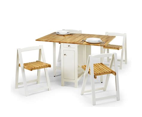 aldwych white and wood gateleg table set