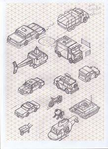 Great Example Of Isometric Drawings Of Vehicles  These Thumbnails Help To Get An Idea Of How To