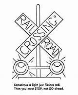 Train Coloring Railroad Pages Safety Trains Sheets Track Signs Printable Traffic Lights Crossing Rail Signal Drawing Tracks Road Activity Caboose sketch template
