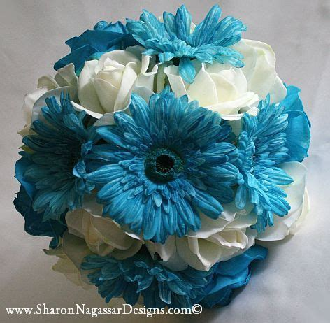 aqua turquoise gerbera daisy white roses real touch