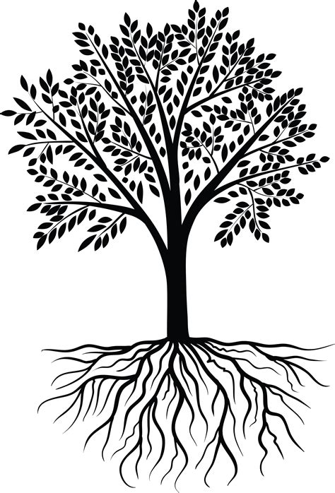 Free Black And White Png Tree With Roots & Free Black And