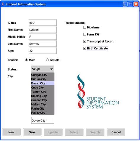 student information system java  source code
