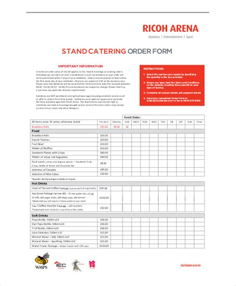 sample catering order form  examples  word