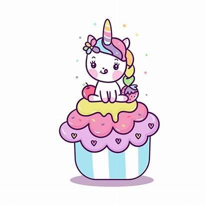 Unicorn Cupcake Kawaii Cartoon Cupcakes Pony Clipart