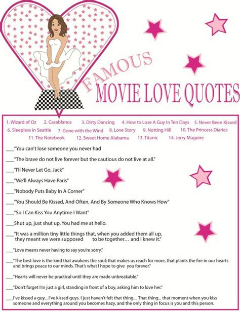 Printable Famous Movie Quotes Game
