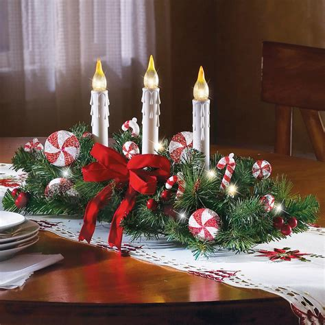 candy cane flameless candle holiday centerpiece christmas