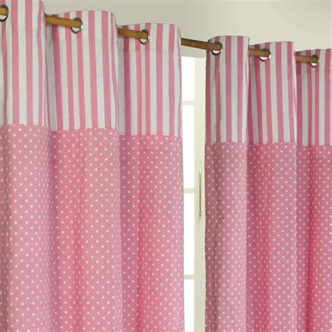 polka dots ready made eyelet curtain pink white cotton