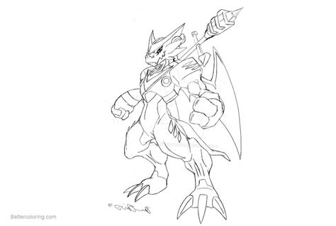Digimon Coloring Pages Shoutmon Lineart By Neoarchangemon