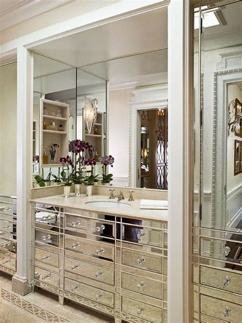 mirrored bathroom mirrored bathroom vanity transitional bathroom traditional home