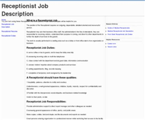 Duties Of A Receptionist For Resume by 10 Exle Resume Receptionist Description