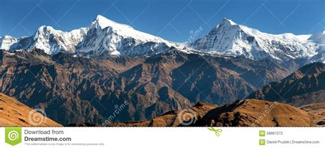 Ansicht Von Putha Churen Himal Und Von Dhaulagiri Himal