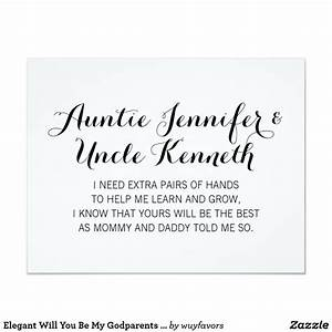 Elegant, Will, You, Be, My, Godparents, Proposal, Invitation