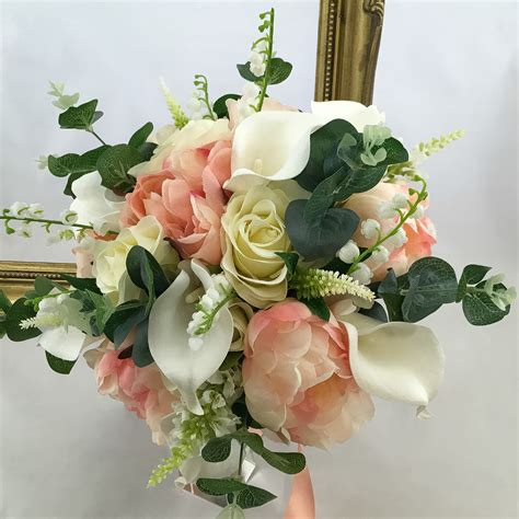 bridal bouquet mixed peony hand tied artificial wedding