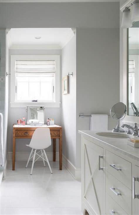 gray bathroom nook  freestanding makeup vanity