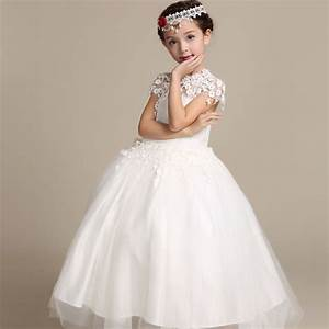 2016 elegant long wedding dress for flower girls solid With kids wedding dress