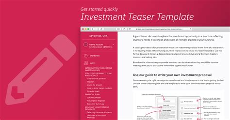 create  professional investment teaser   template