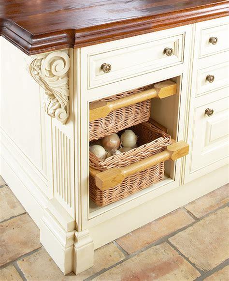 kitchen island with baskets savvy kitchen island storage traditional home 5199