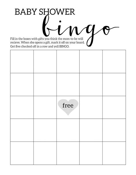 Baby Shower Bingo Free Printable by Baby Shower Bingo Printable Cards Template Baby Shower