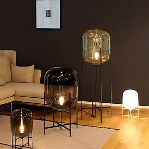 Nordic style glass floor lamp lights fashion design glass for Glass lantern floor lamp