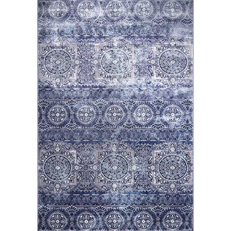 Blue Doormat by Home Dynamix Bazaar Sea Shells Blue 5 Ft X 7 Ft