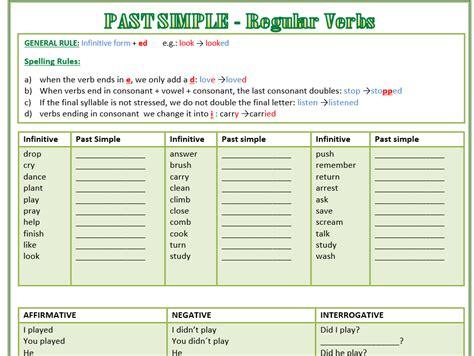 Past Simple  Regular Verbs Worksheet  Affirmative, Interrogative, Negative By Mariapht