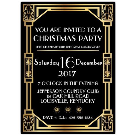 gatsby classic deco christmas party invitations paperstyle