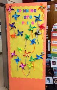 spring classroom door decorations spring pinwheel