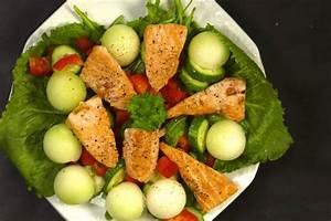 Salat Mit Geräuchertem Lachs : melonen salat mit gebratenem lachs und buntem gem se rezept fit for fun ~ Orissabook.com Haus und Dekorationen