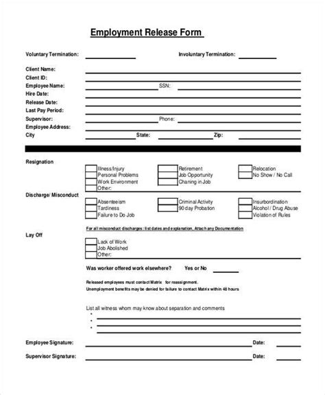 20119 work release form sle employment release forms 9 free documents in pdf