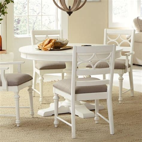white wood round dining table american drew lynn haven round wood dining table in white