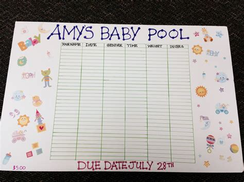 guessing baby pool template baby due date baby pool