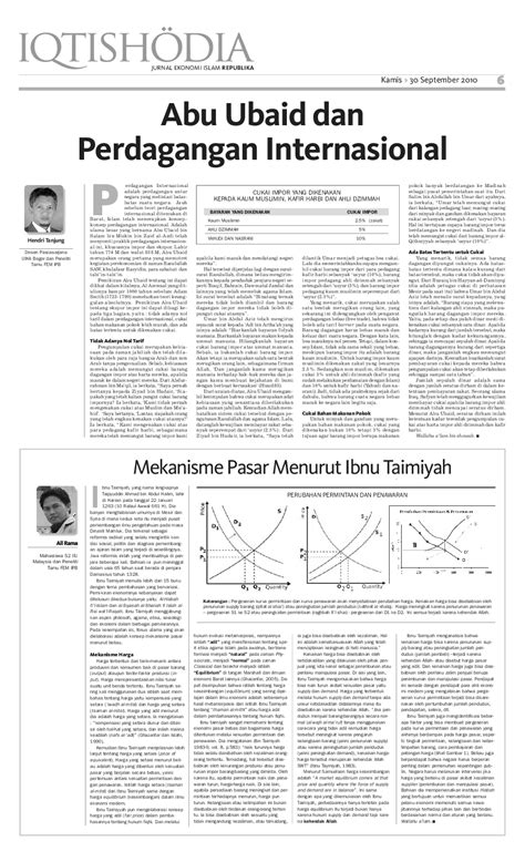 Mekanisme Pasar Menurut Ibnu Taimiyah   Ali Rama