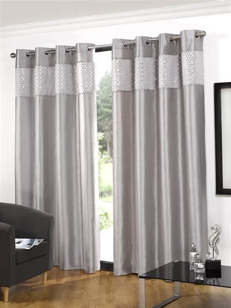silver faux silk eyelet bling luxury ready made curtains