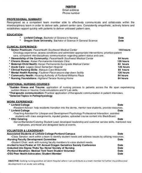 nursing student resume    word