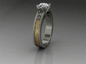 buy a custom made 14kt ladies white gold and yellow gold With wedding rings western style