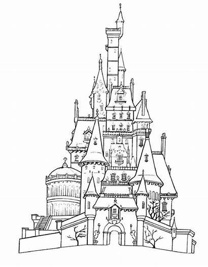 Coloring Cinderella Pages Printable Castle Disney Disneyland