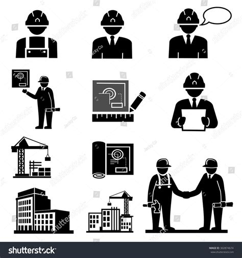 engineering construction project managericons vector stock