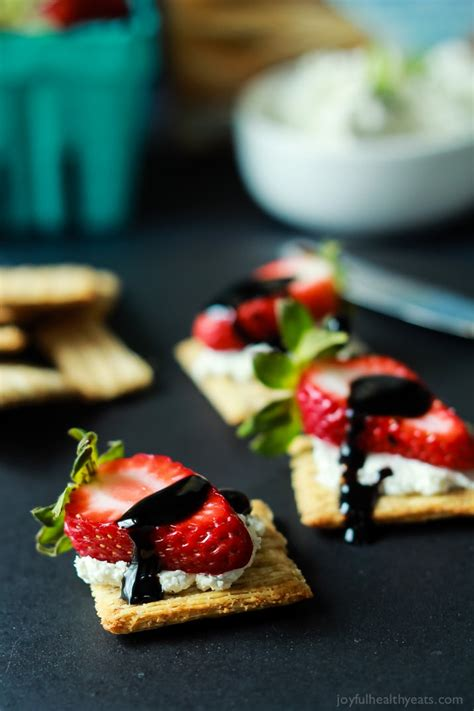 easy strawberry goat cheese bites with balsamic reduction easy healthy recipes using real