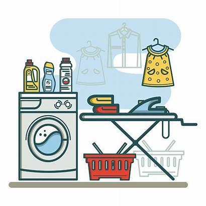 Laundry Clip Icons Icon Linear Machine Washing