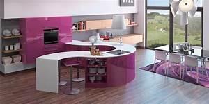 cuisine rouge avec ilot central estein design With cuisine design avec ilot central
