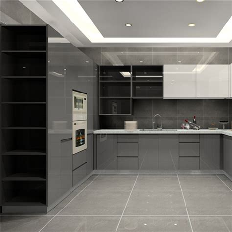 high gloss finish kitchen cabinet grey base cabinet