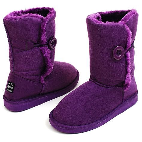 boots button shearling alpine swiss faux purple comfort