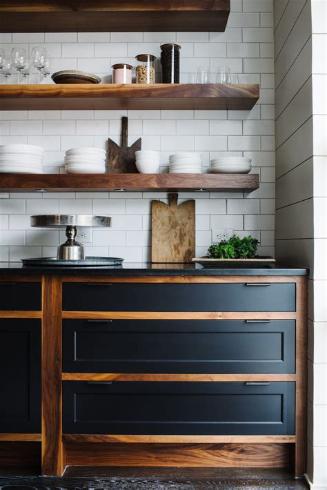 wooden open shelving subtile kitchen design smith hanes