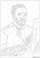 Portrait Van Self Gogh Pages Sheet Coloring Template Printable Print Coloringpagesonly sketch template
