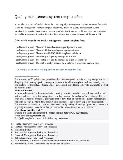 free quality assurance policy template quality management system template free