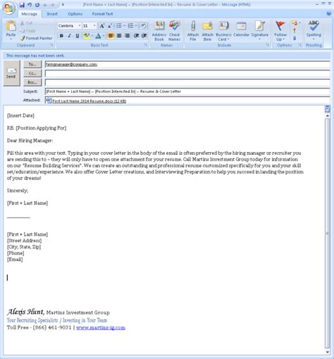 how to write an application letter on email