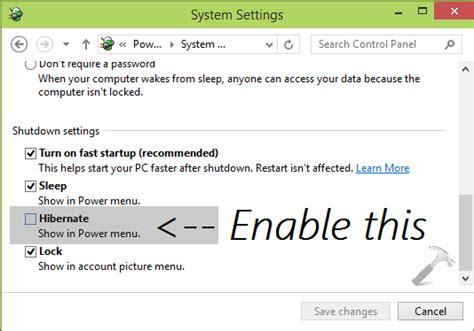 how to enable hibernate option in power menus for windows 10