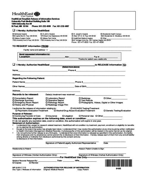 15419 hospital release form hospital release sle form free