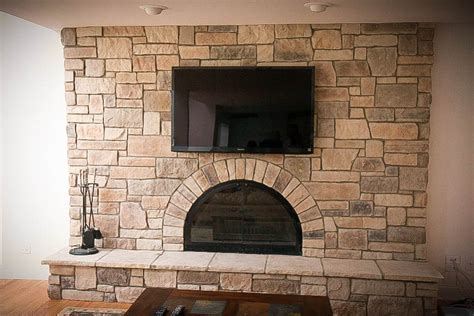 refacing a brick fireplace Family Room Traditional with