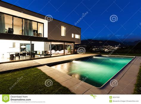 modern villa night scene stock image image
